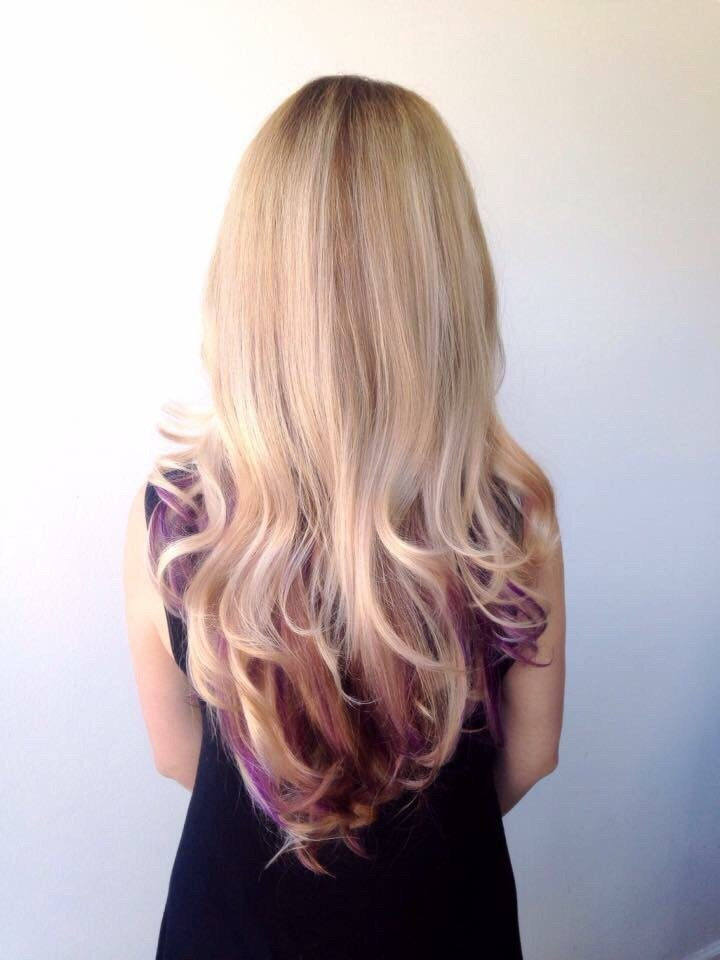 Long Layer Hair Cut Blonde Balayage Highlights And Peekaboo