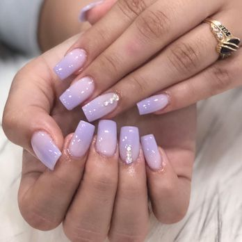 Dip fullset, lavender ombré,nails by Vivian , Yelp