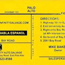 infinity auto salvage auto parts supplies 2091 bay rd palo. Black Bedroom Furniture Sets. Home Design Ideas