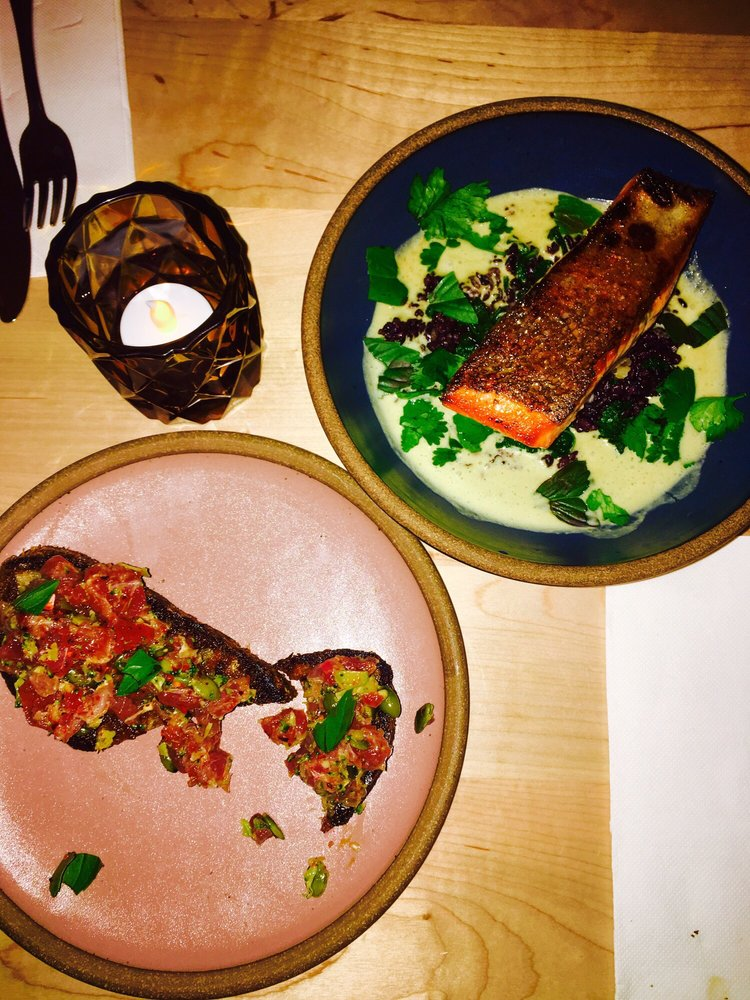 Tuna Tartine and Sea trout over green curry, black rice ...