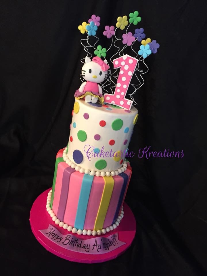 Hello Kitty Theme Cake To Match Party Colors Gumpaste