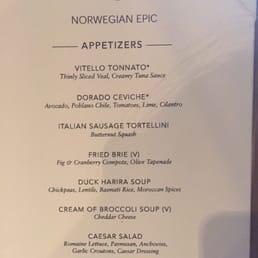 Norwegian Epic Manhattan Room Menu