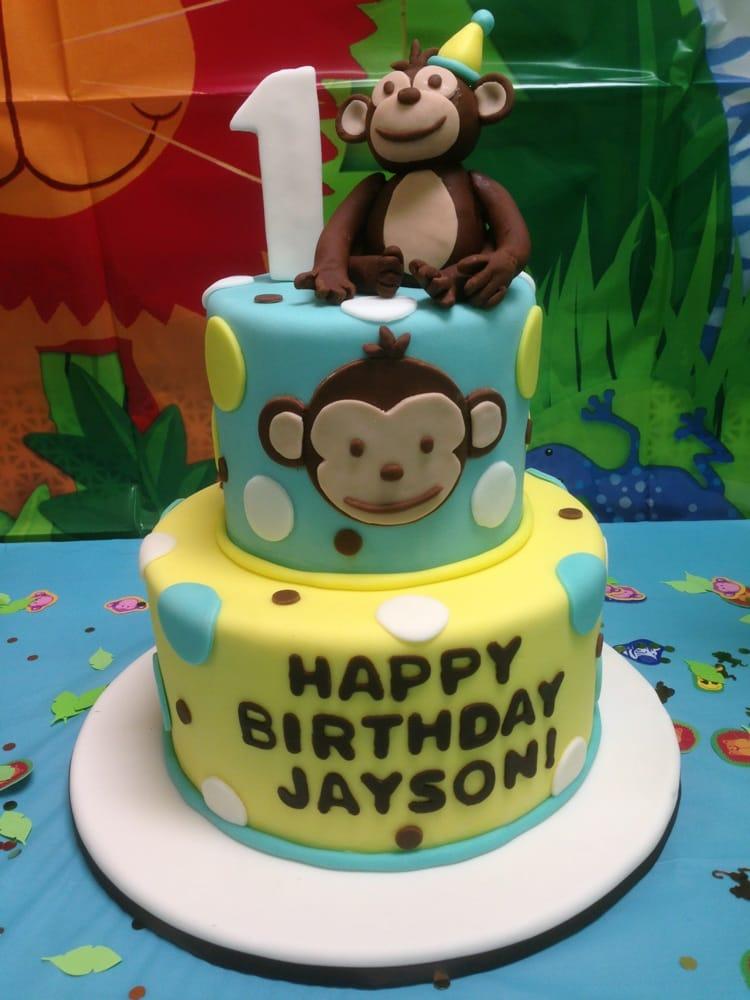 Mod Monkey themed 1st Birthday Cake Yelp
