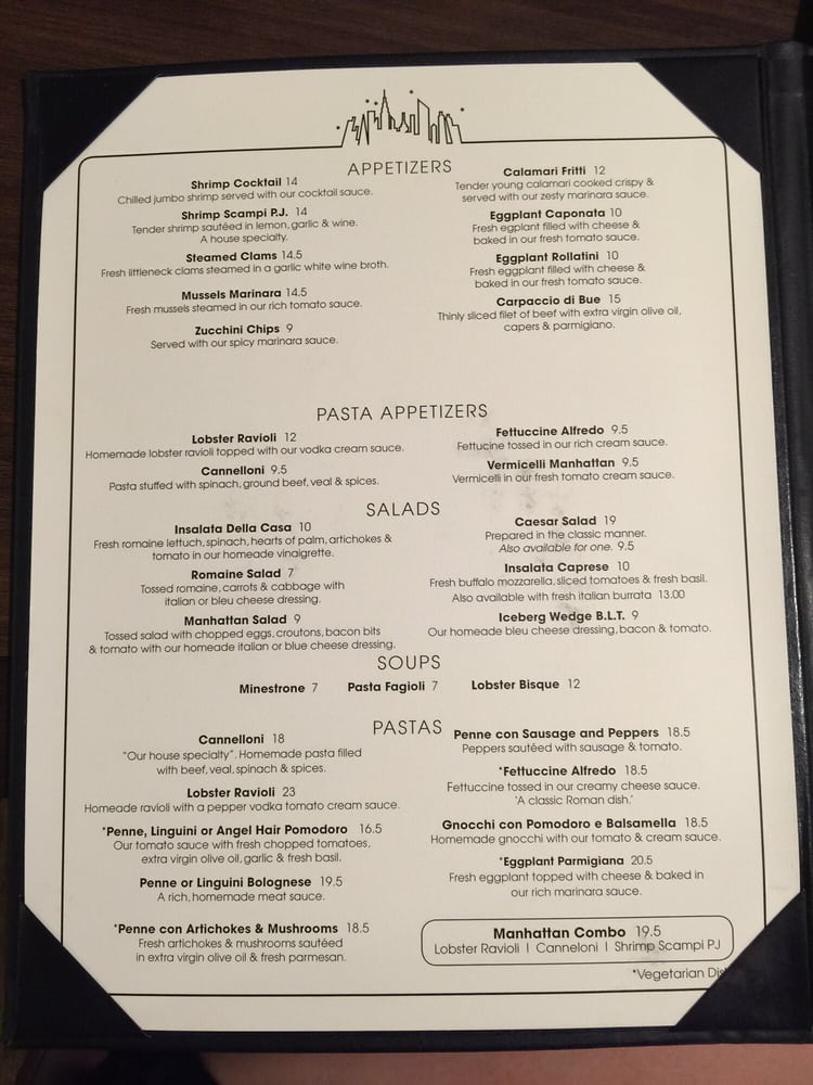 Room service menu by manhattan of la jolla restaurant yelp for W austin in room dining menu