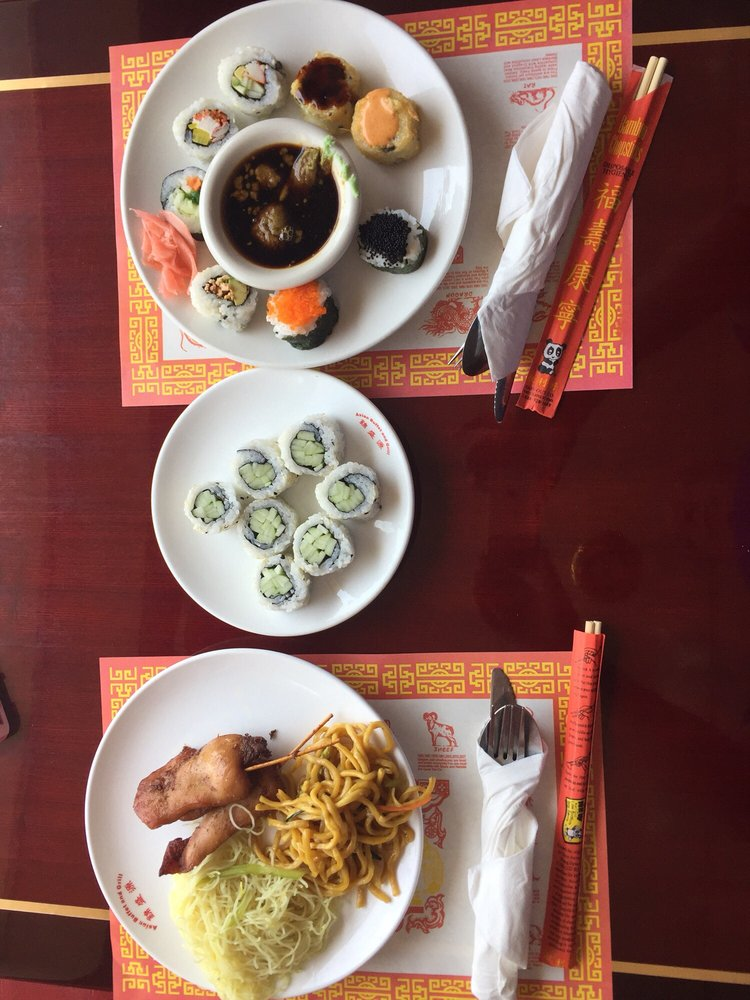 Food from Asian Buffet & Mongolian Grill