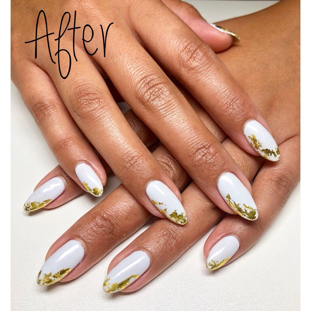 Gel manicure on natural nails with foil nail design - Yelp