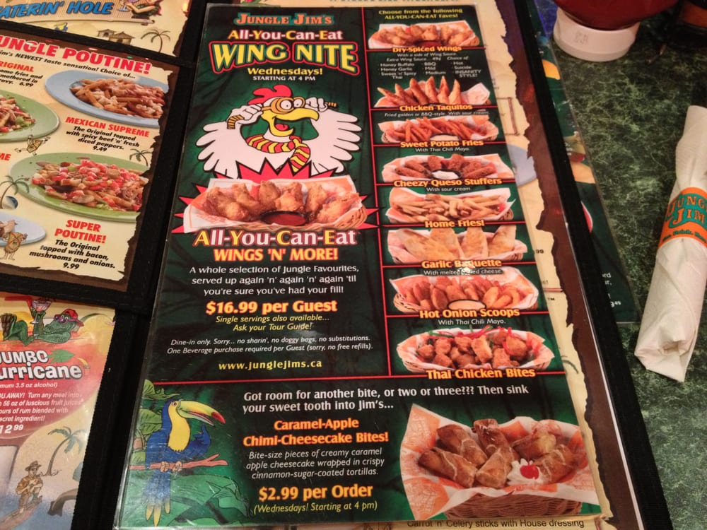 Bathroom Sink Jungle Jim's wings menu~ - yelp