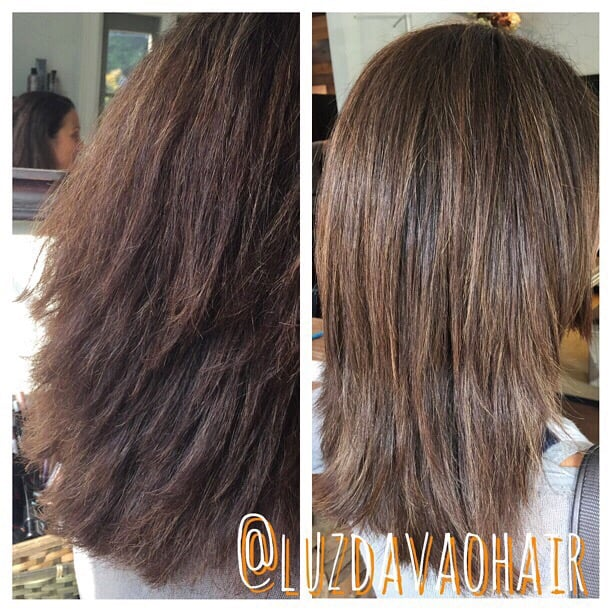 Before: damage from a relaxer done somewhere else. After: Olaplex rebonding treatment and