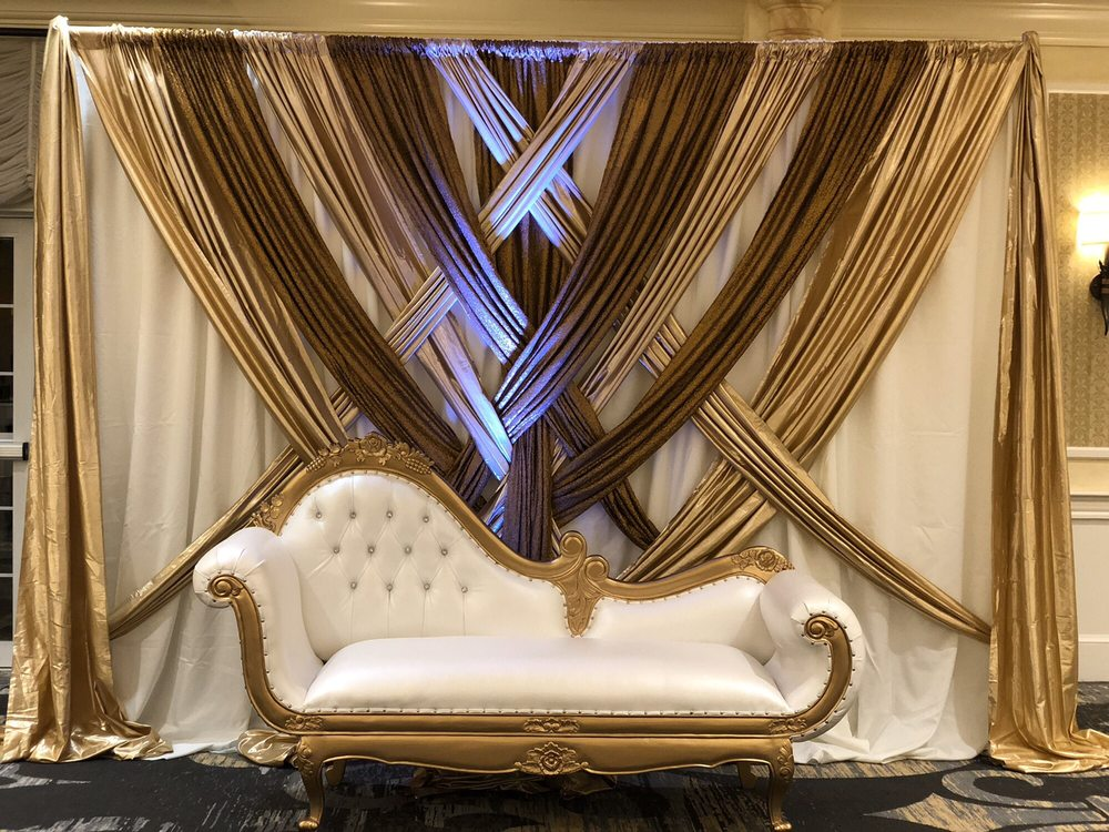 Beautiful And Elegant White Gold Reception Backdrop For An Intimate