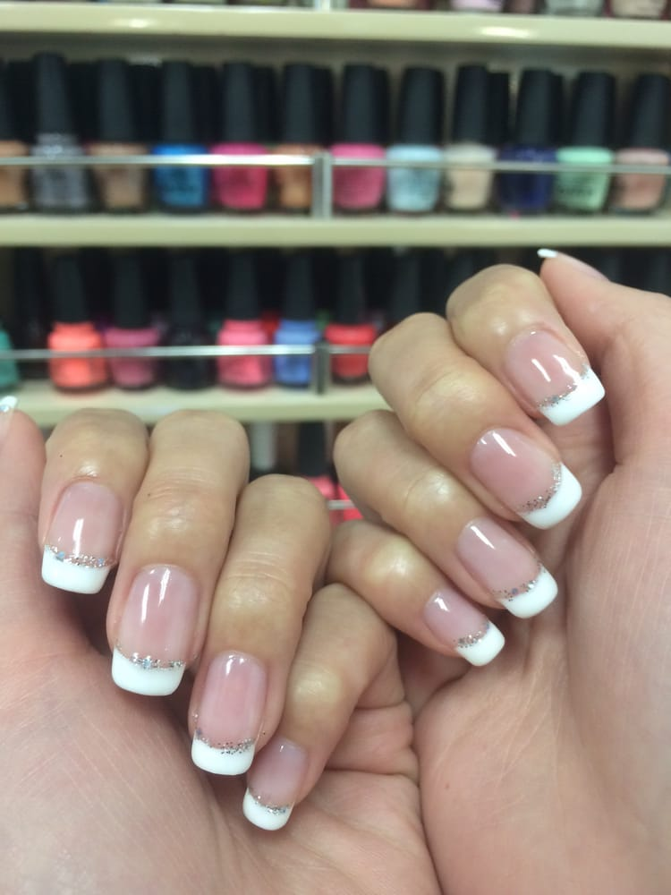 Classic French tips with a silver lining of glitter! Thanks Linda ...
