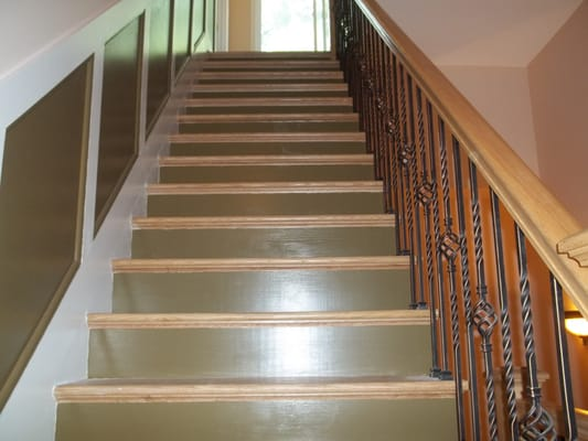Stair Stringer Risers Trim And Walls Custom Painted In