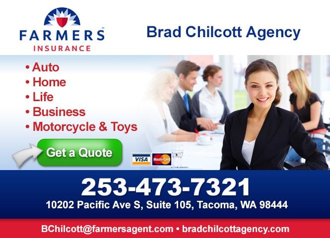 Farmers Insurance - Bradney Chilcott   333 S Meridian, Ste 105b, Puyallup, WA, 98371   +1 (253) 473-7321