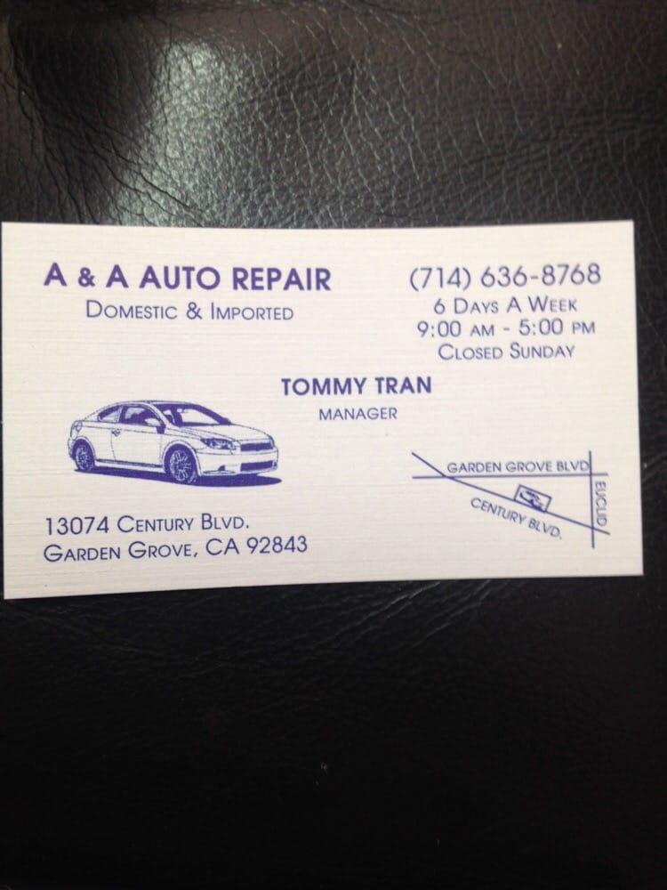 A Auto Repair 13074 Century Blvd Garden Grove Ca Phone Number Yelp