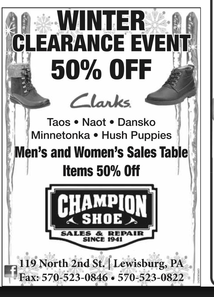 Champion Shoe Sales Lewisburg Pa