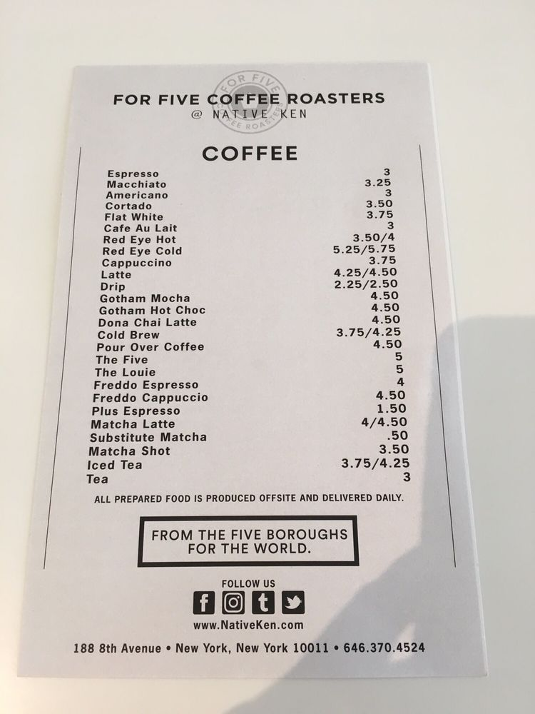 P O Of For Five Coffee Roasters New York Ny United States Drink