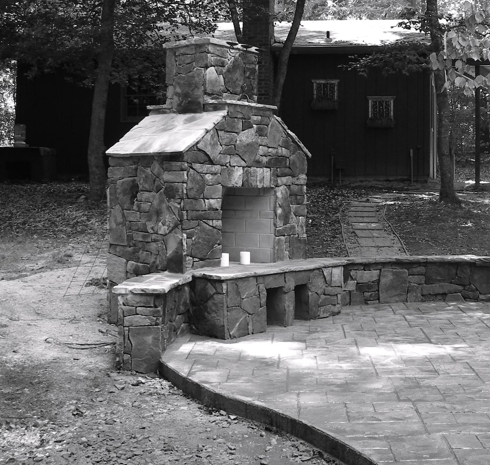 Stamped Concrete Chimney : Stamped concrete patio with stone all and fireplace yelp