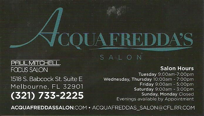 Acquafredda 39 s salon business card yelp for Acquafredda salon