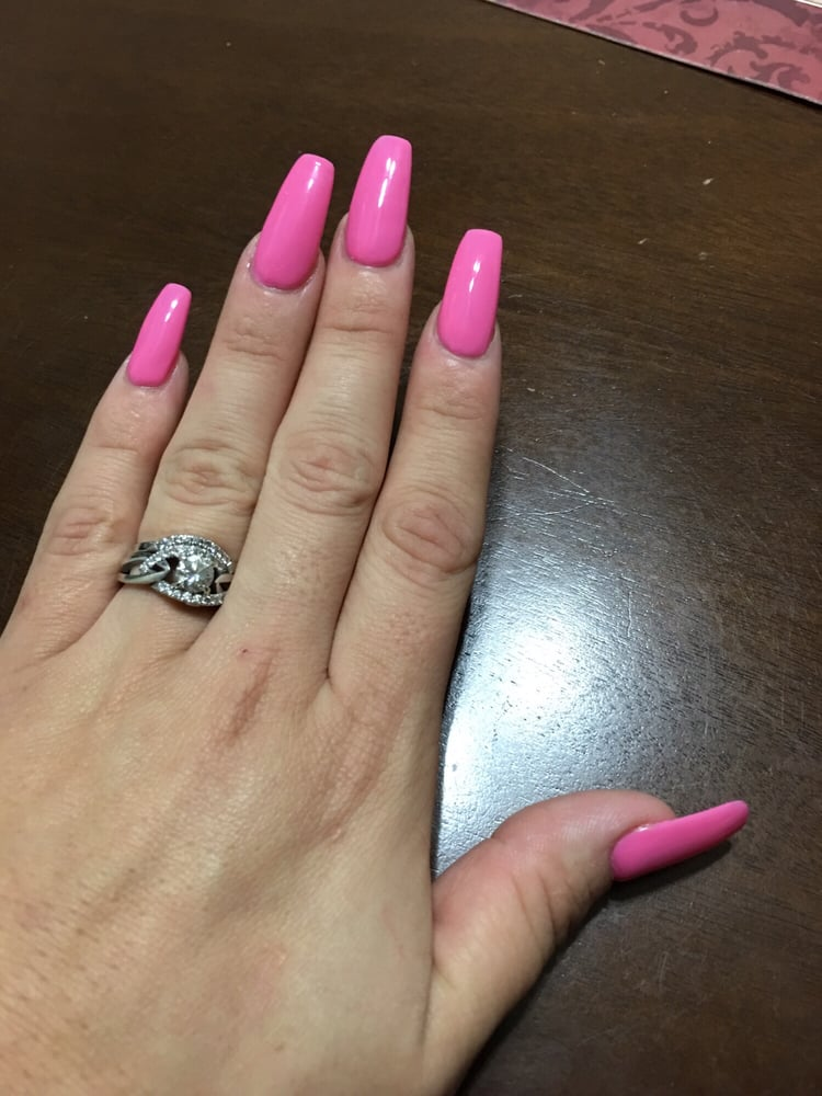 Ballerina / coffin style nails! They even have a lipstick style nail ...
