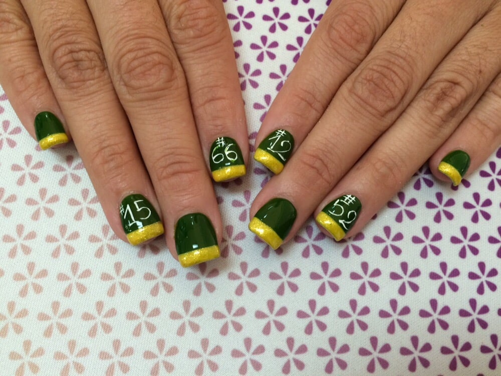 Acrylic nails with green bay packers design yelp photo of lish nail salon peoria az united states acrylic nails with prinsesfo Gallery