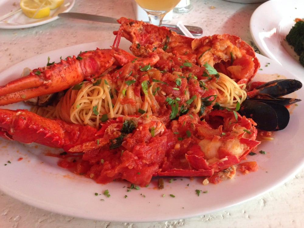 (An early bird special) Whole Lobster with marinara sauce or Fra diablo With two clams, two ...