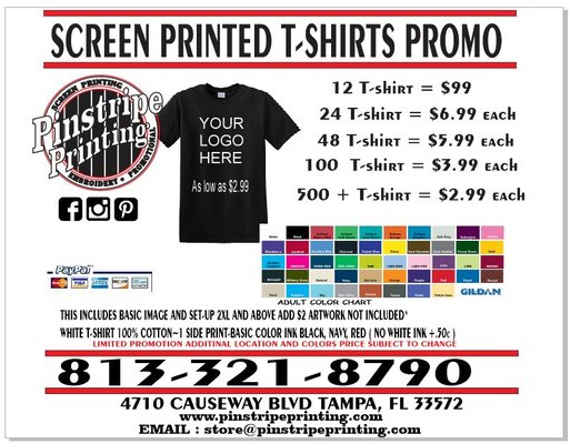 Pinstripe printing screen printing t shirt printing for Tampa t shirt printing