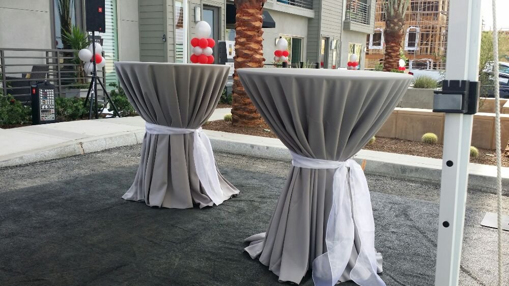 36 x 42 hi top tables with 132 gray polyester for Rent cocktail tables near me