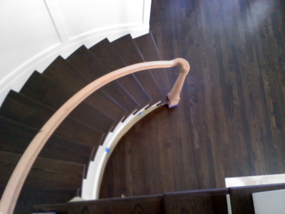 Custom Made Stairs With White Oak Flooring And Stained In