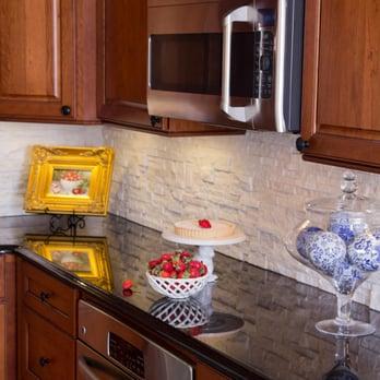Under Counter Oven Stacked Stone Quartz Backsplash Cherry