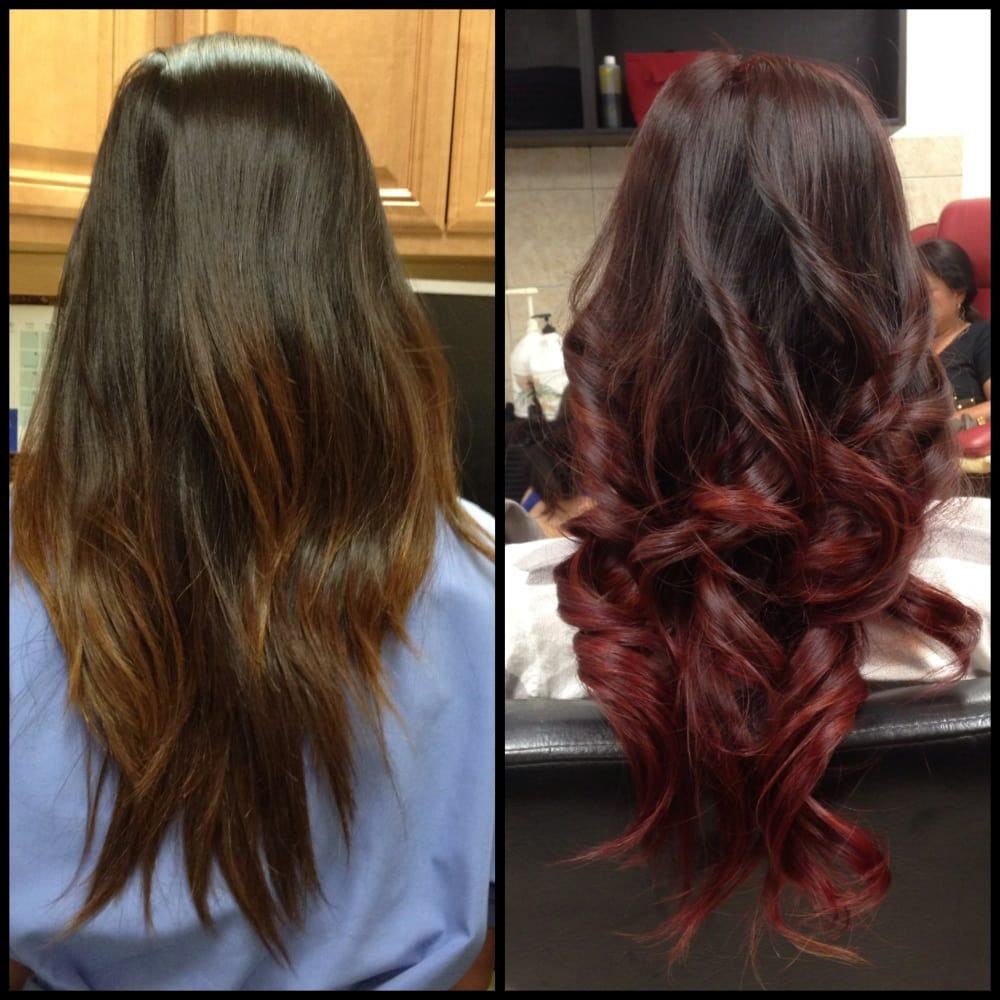 Burgundy Ombre And Curls Yelp