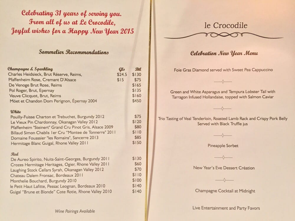 Le Crocodile Restaurant Vancouver Menu