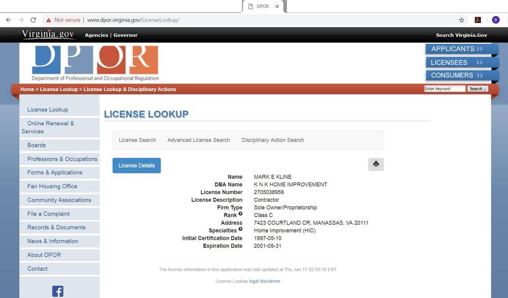 Plumbing License Search