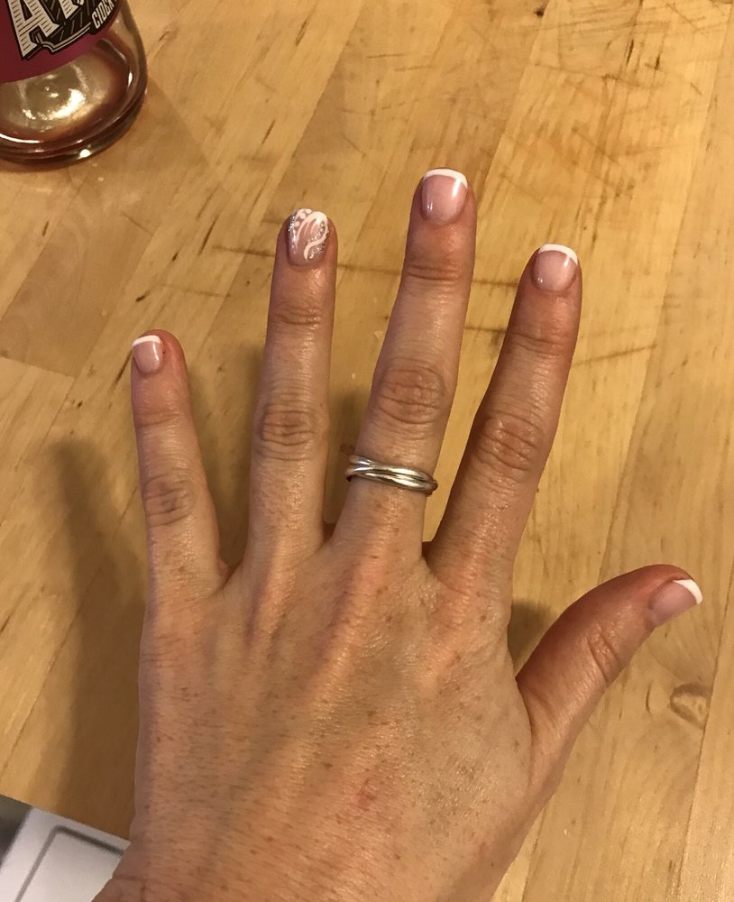 French manicure with pretty nail art - Yelp