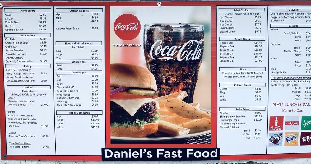 Daniel's Fast Food: 129 Bourg Larose Hwy, Bourg, LA