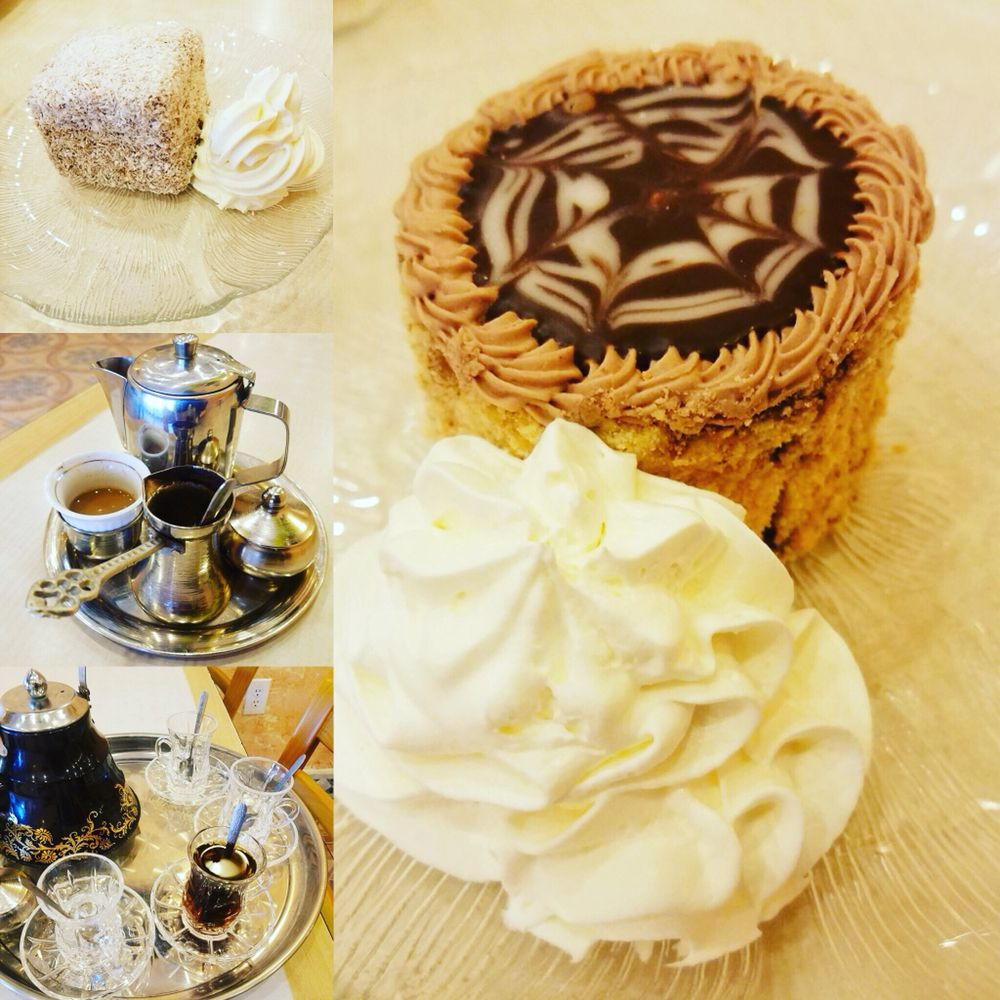 Turkish coffee, caj,and Russian hat sweets along with cupavac on the