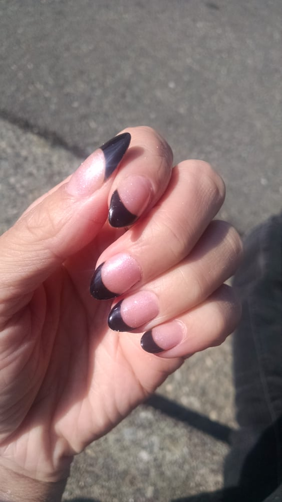 Here is the black tip, pink insides gel French manicure! Almond ...