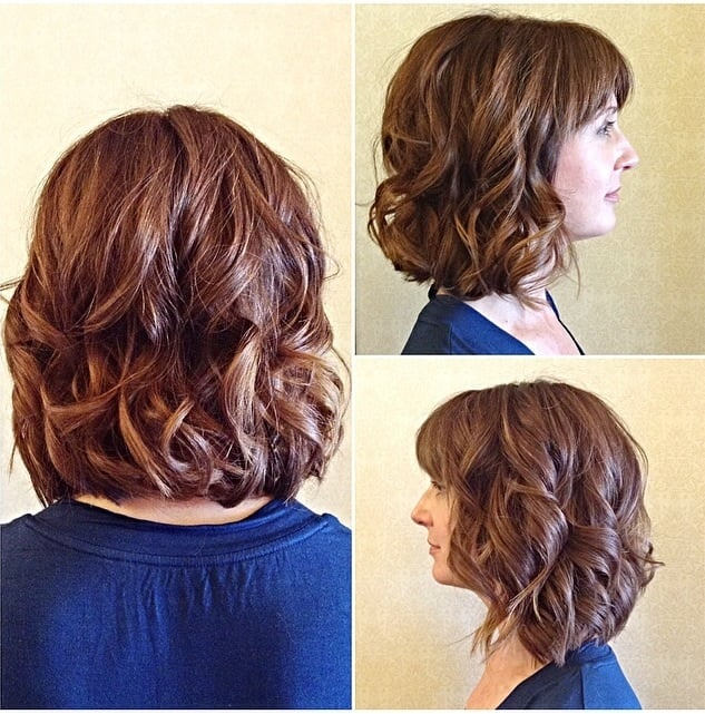 Slightly Angled A Line Long Bob With Minimal Layers With Loose