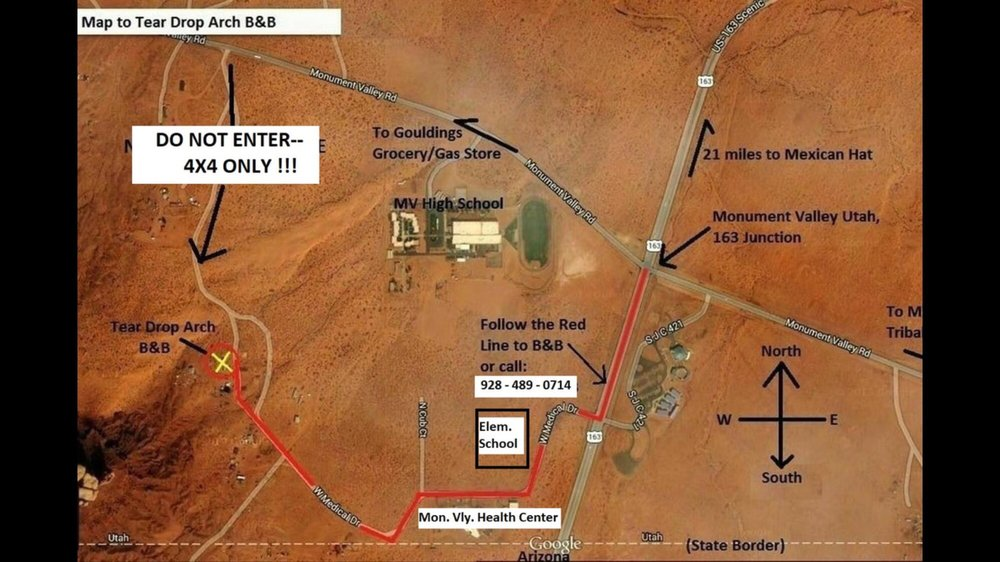Map Of Arizona Monument Valley.Follow The Red Line Drive Up There Is On Soft Red Sand 4x4