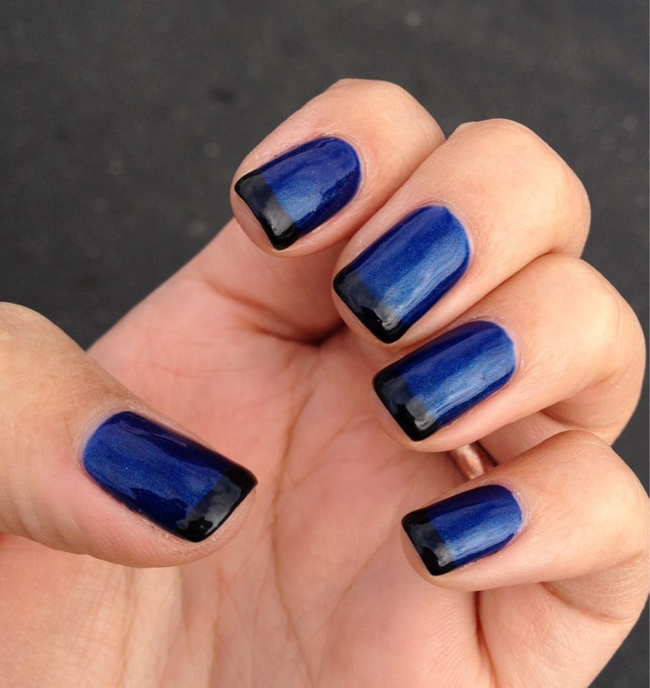 Gel mani by Molly. Dark blue nails with black French tips. - Yelp