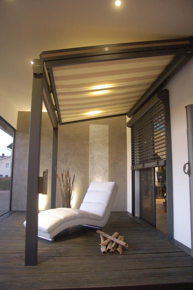 Warema Hamburg ausstellung warema terrassendach typ t1 mit drunter montierter