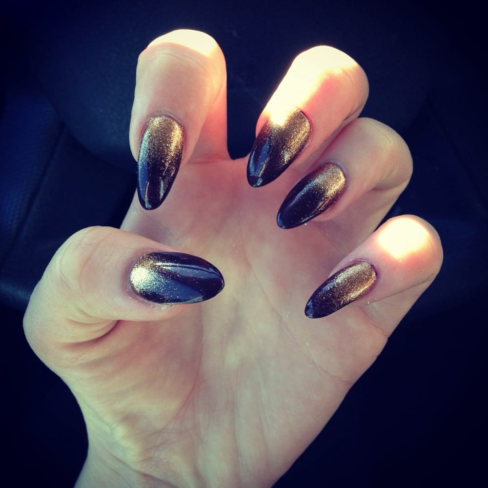 Stiletto nails with gel and glitter dust! Love :)! - Yelp