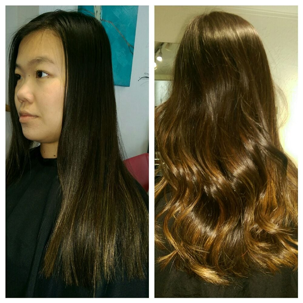 Balayage Highlighting Technique Haircut Asian Hair Naturally Very