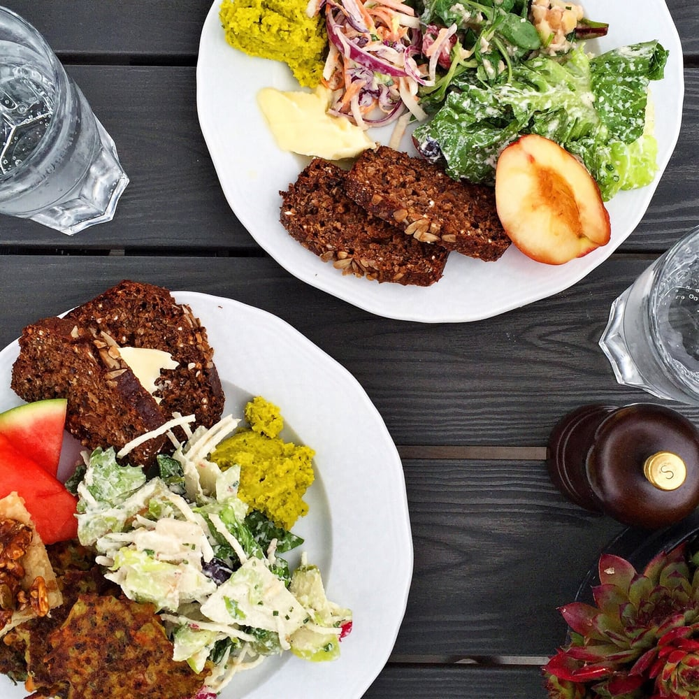 vegetariskt mat från trädgårdscaféet slottsträdgården ulriksdal