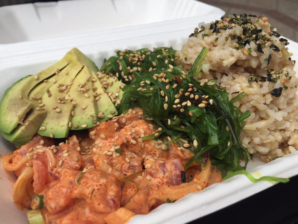 ... tuna, 1/2 sunset house poké with brown rice and seaweed salad! +$1