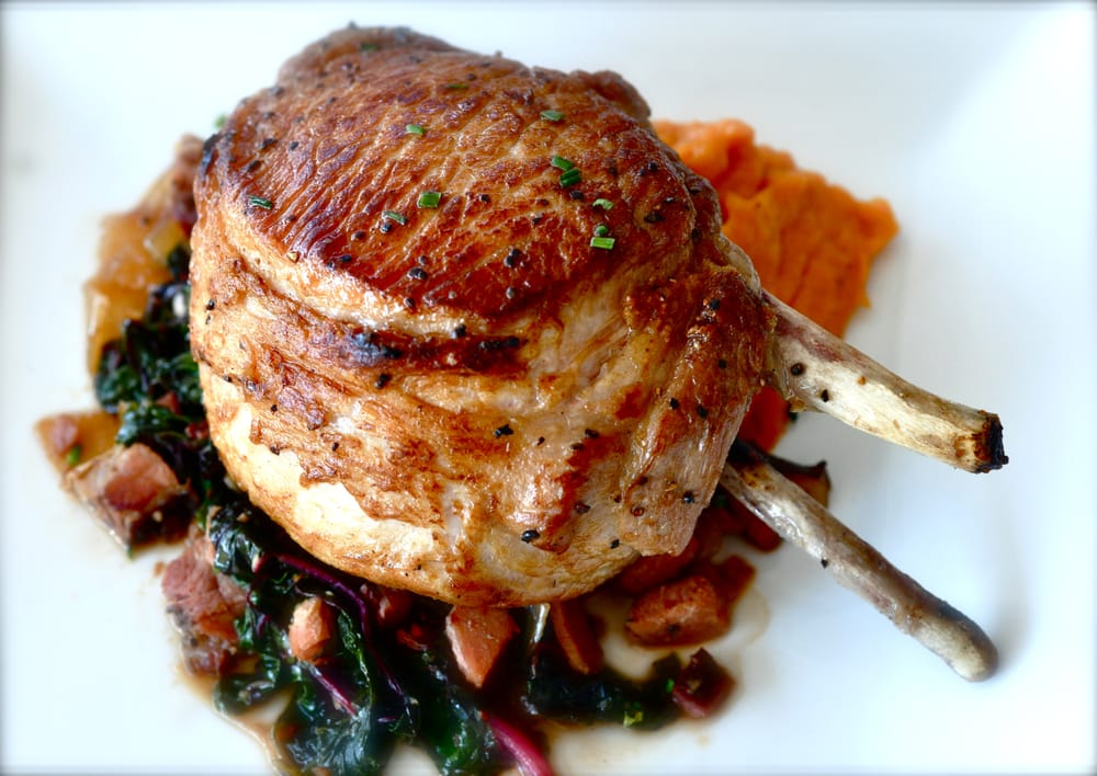 ... Grilled Pork Chop ~ with Sweet Potato Puree and Braised Collard Greens