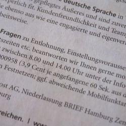 Deutsche Post Niederlassung Brief Hamburg Zentrum Post