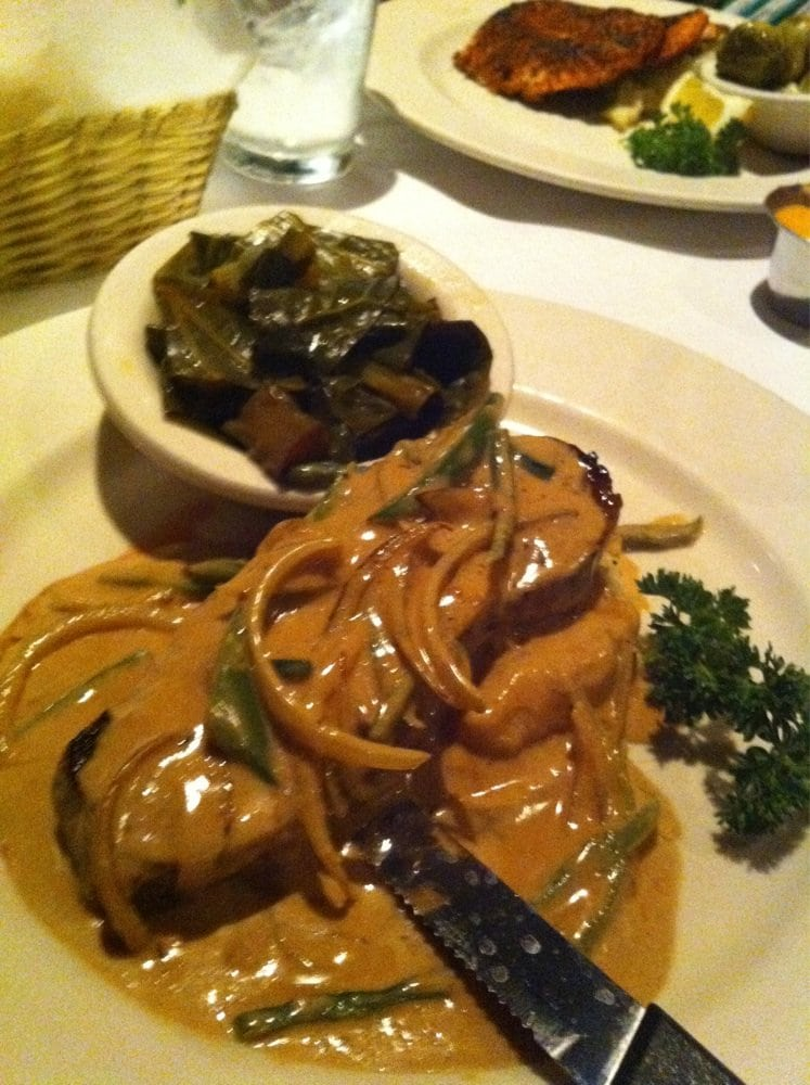 Dixie Quicks Magnolia Room - Omaha, NE, United States. Texas Chili Pepper Steak on mashed potatoes with collard greens! Delicious!!!