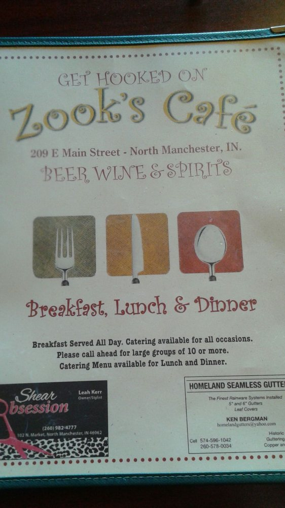 Zook's Cafe: 209 E Main St, North Manchester, IN