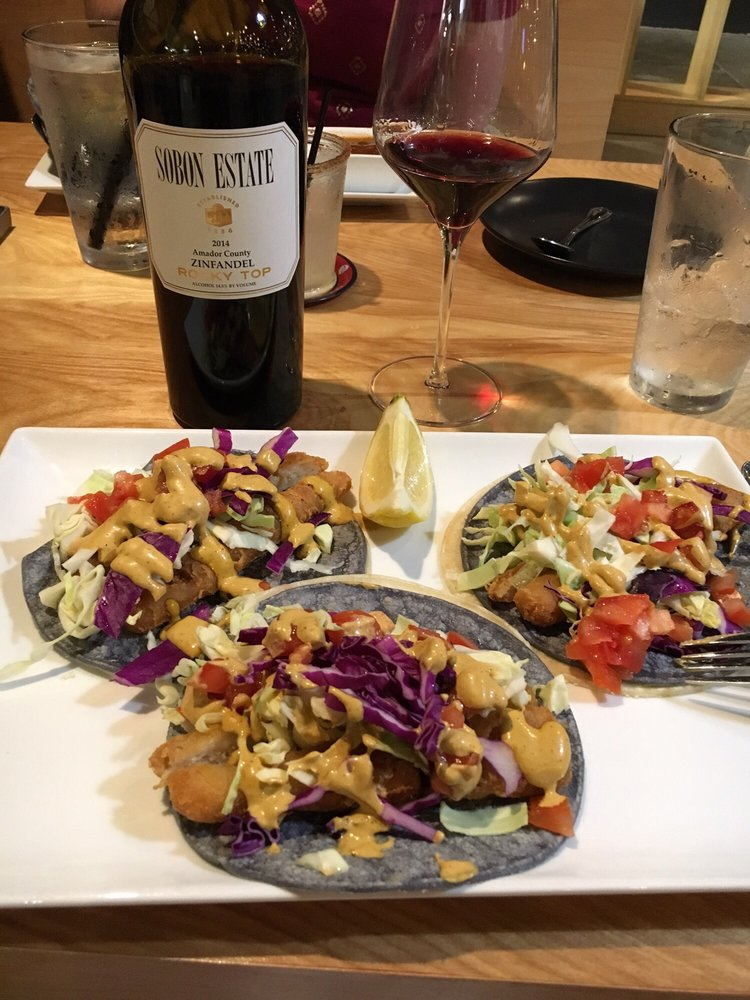 Photo of Mesa Mercado - Carmichael, CA, United States. Fish Tacos, chips and salsa and a nice, Amador Country Zinfandel.