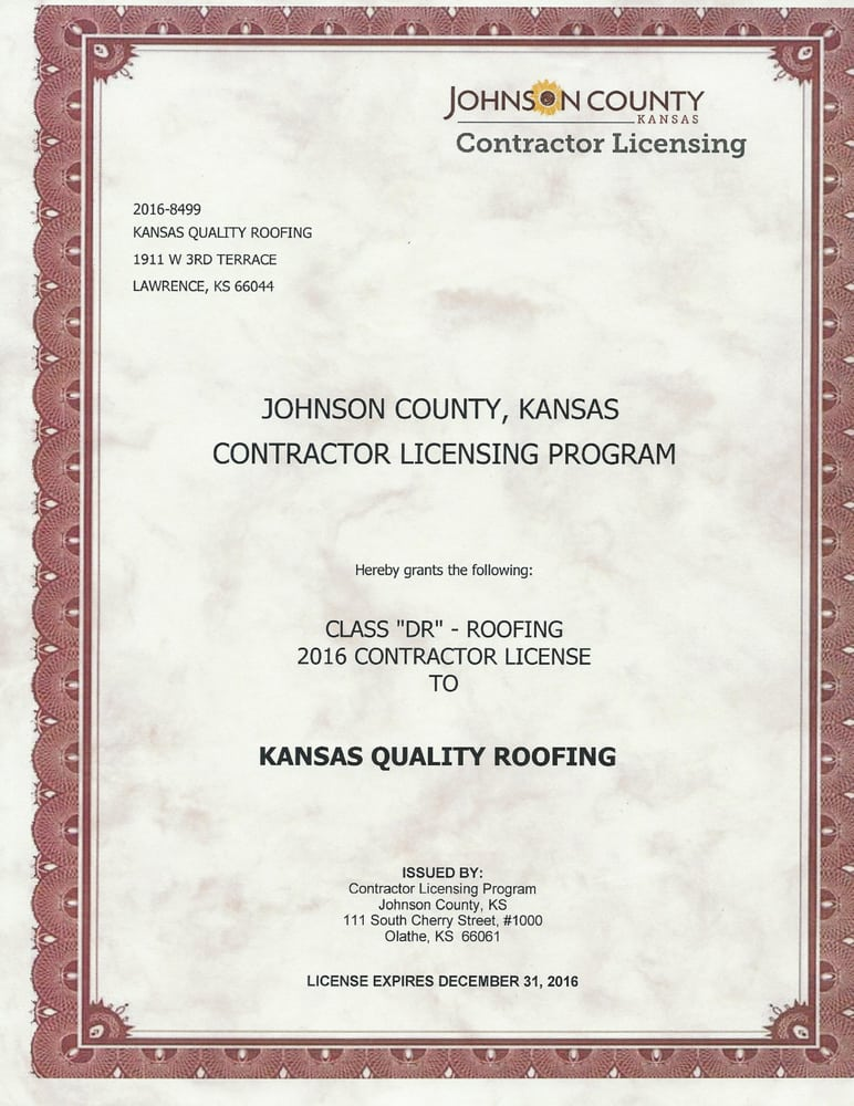 Kansas Roofing License & Residential Roof Replacement  Image