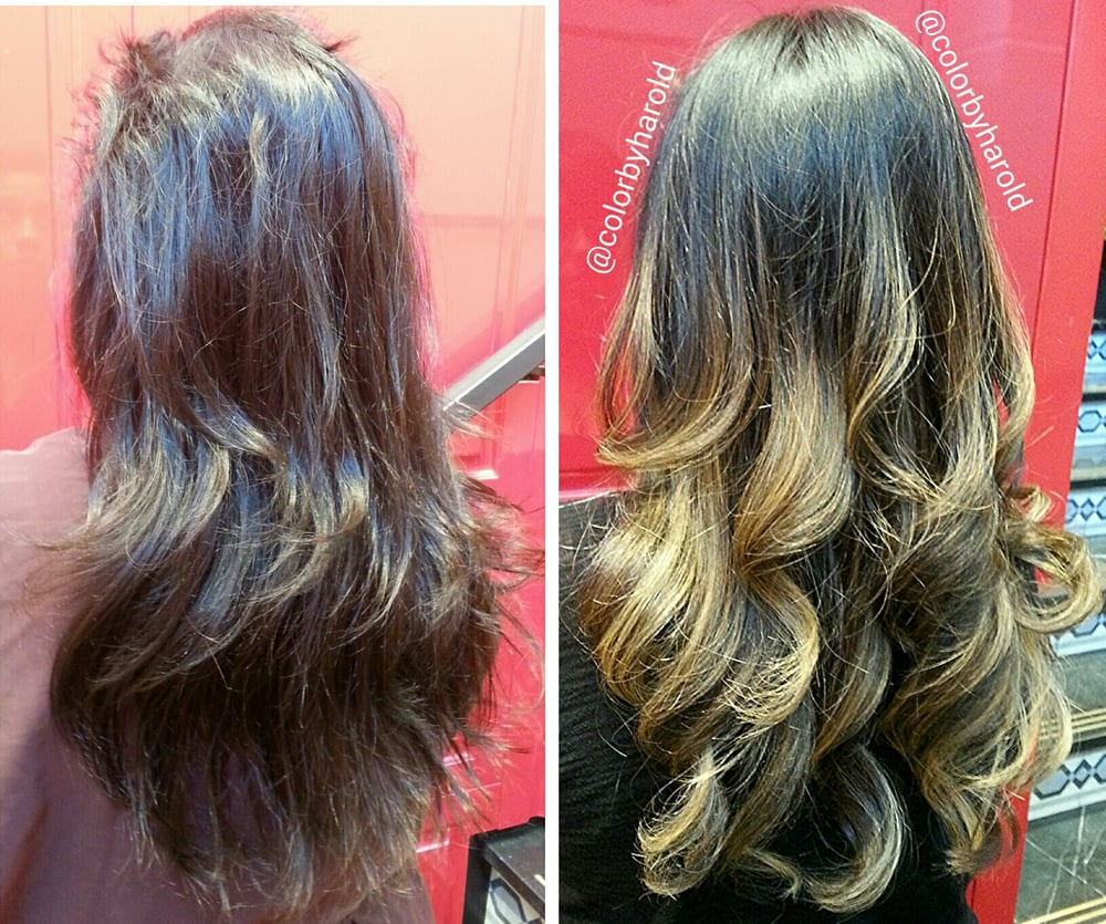 Natural Dark Ash Brown To High Contrast Ombre Makeover By Hair